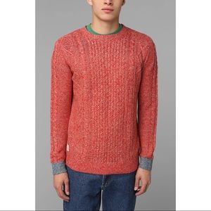 Native Youth Contrast Cuff Cable Knit Pullover